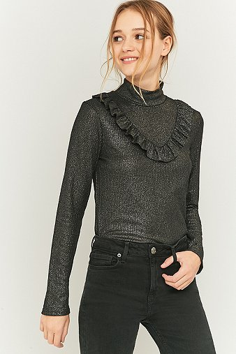 sparkle-fade-black-lurex-frill-knitted-turtleneck-top-womens-xs