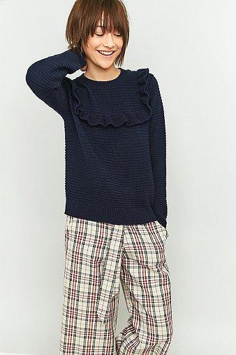 urban-outfitters-frill-bib-navy-jumper-womens-s