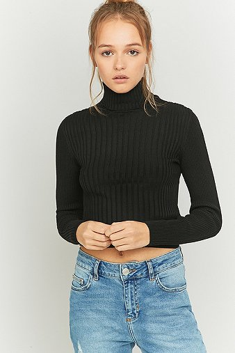 urban-outfitters-cropped-black-ribbed-turtleneck-jumper-womens-s