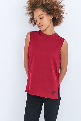 nike-pleated-red-tank-top-womens-xs