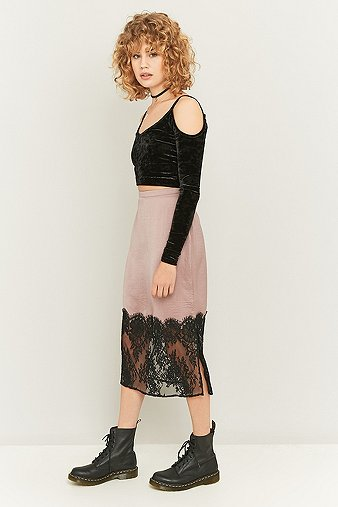 pins-needles-lace-hem-satin-midi-skirt-womens-s