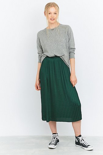 urban-outfitters-pleated-green-midi-skirt-womens-s