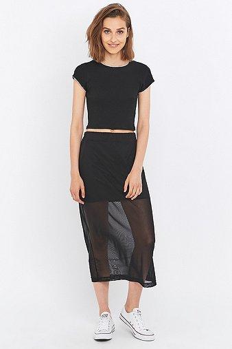 light-before-dark-mesh-column-midi-skirt-womens-m