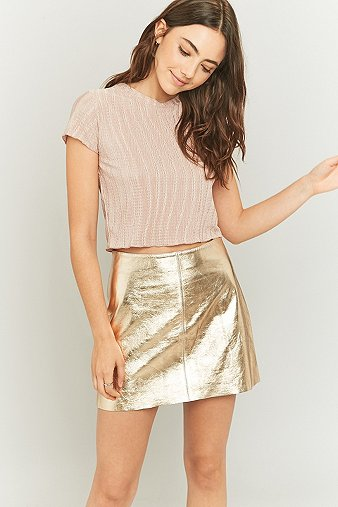 light-before-dark-metallic-bronze-leather-pelmet-skirt-womens-m