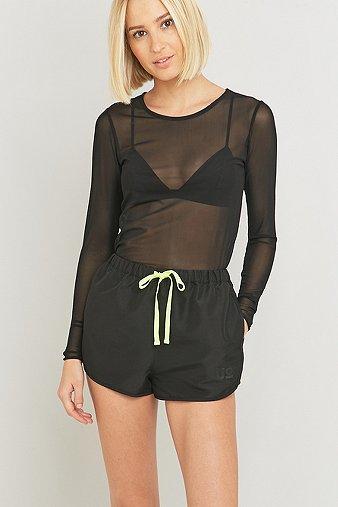light-before-dark-black-nylon-runner-shorts-womens-m