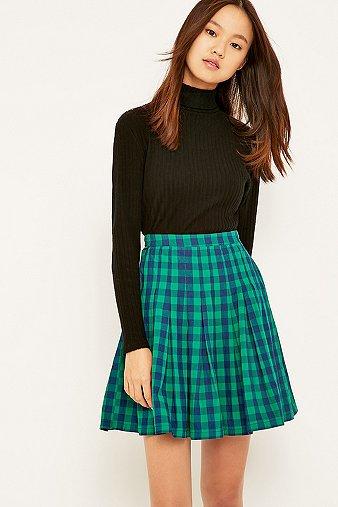 peter-jensen-pleated-green-checked-skirt-womens-s