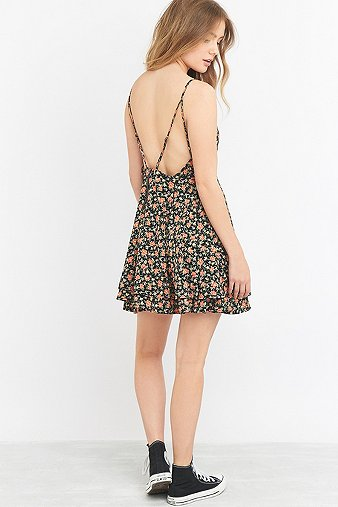 pins-needles-button-front-fit-flare-black-floral-dress-womens-l