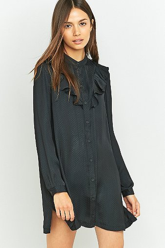 urban-outfitters-black-ruffle-shirt-dress-womens-s