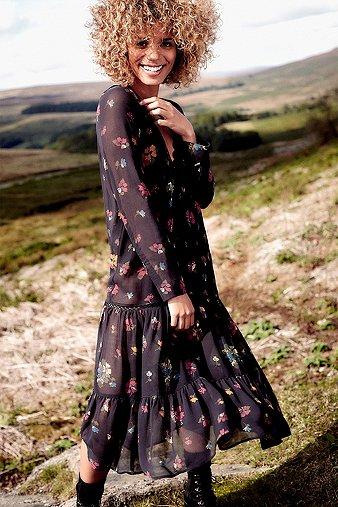 pins-needles-drop-waisted-black-floral-print-dress-womens-xs