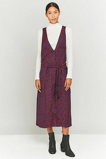 rodebjer-suellen-maroon-floral-jacquard-midi-dress-womens-xs