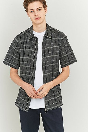common-homme-place-plaid-short-sleeve-zip-shirt-mens-m