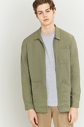 common-homme-kord-olive-zip-overshirt-mens-l