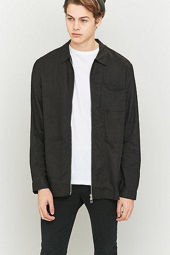 common-homme-kord-black-zip-overshirt-mens-m