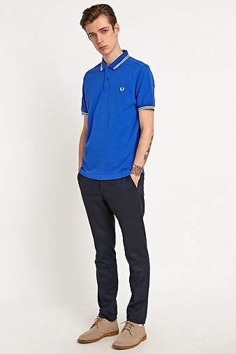 Fred Perry Twin Tip Polo Shirt in Regal Blue Blue