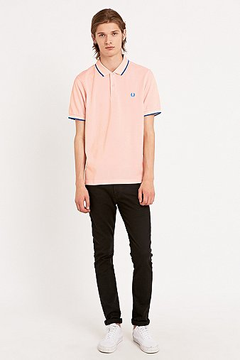Fred Perry Twin Tip Polo Shirt in Soft Pink Pink