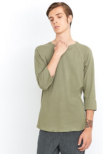 common-homme-olive-waffle-34-raglan-sleeve-t-shirt-mens-m