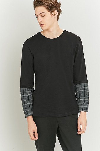 common-homme-plaid-insert-long-sleeve-t-shirt-mens-m