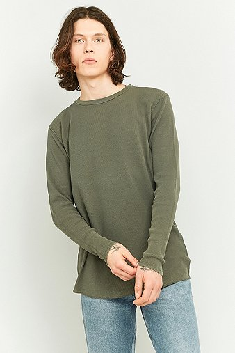 commodity-stock-long-sleeve-khaki-marl-waffle-t-shirt-mens-m