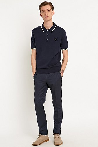 Fred Perry Knitted Tip Polo Shirt in Blue Granite Navy