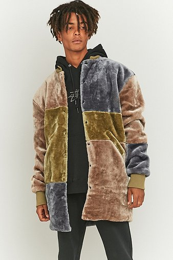 the-new-county-olive-brown-patchwork-long-bomber-jacket-mens-m