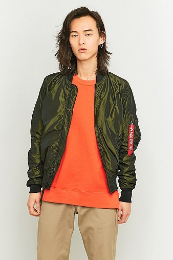 Alpha Industries MA-1 Dark Green LW Flight Jacket - Mens L