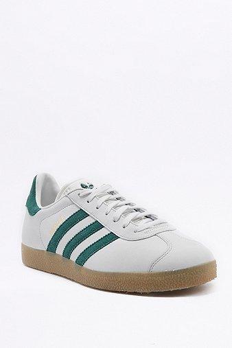 adidas Originals Gazelle White and Green Gumsole Trainers White