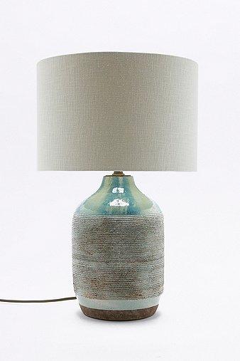Image of Ceramic Base Linen Table Lamp, Blue