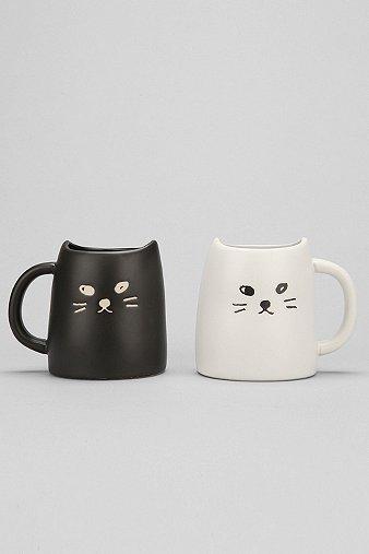 Image of Black & White Cat Mug Set, Black & White