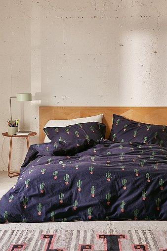 Image of Blue Cactus Print Duvet Set, Blue