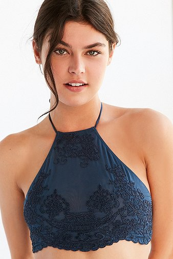 out-from-under-madison-blue-applique-high-halter-neck-bra-womens-m
