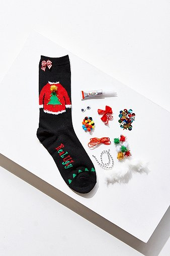 real-ugly-socks-black-jumper-socks-do-it-yourself-box-kit-womens-one-size