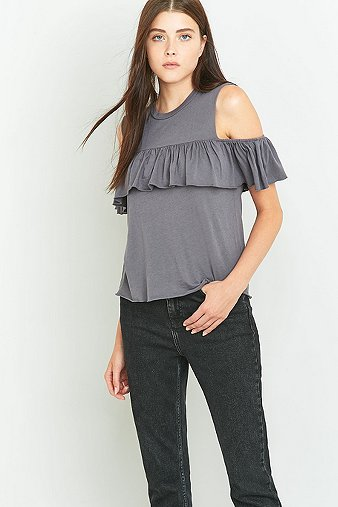 truly-madly-deeply-cold-shoulder-grey-frill-tank-top-womens-m