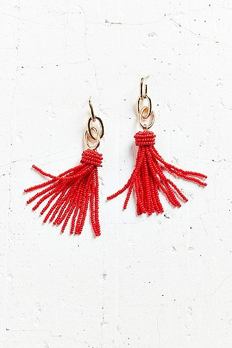 yara-chain-red-tassel-statement-earrings-womens-one-size