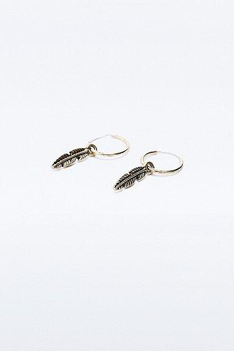 Women's Watches Feather Hoop Earrings in Gold, SILVER