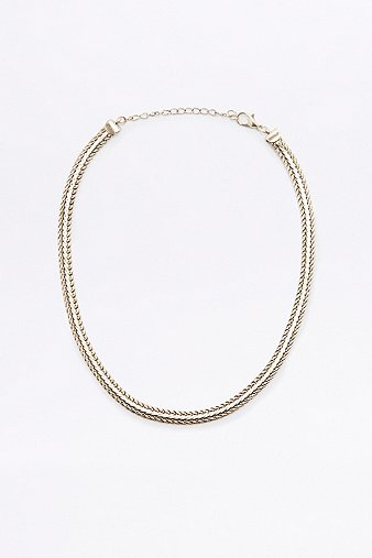 plaited-chain-choker-necklace-womens-one-size