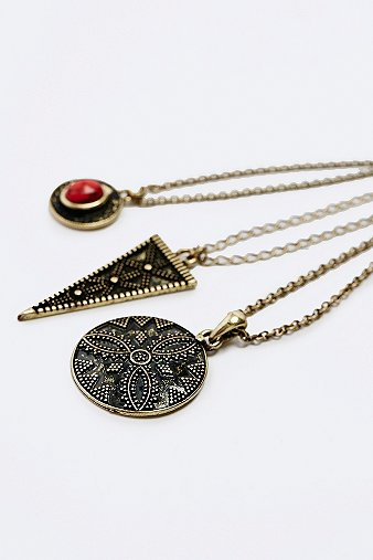 Women's Jewellery Triangle Layering Necklace Pack in Gold, GOLD