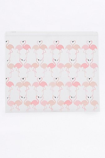 pink-flamingo-plastic-zip-make-up-bag-womens-one-size