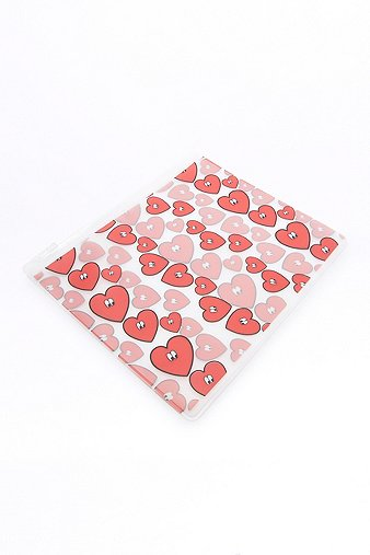 wonky-red-heart-plastic-zip-pouch-womens-one-size
