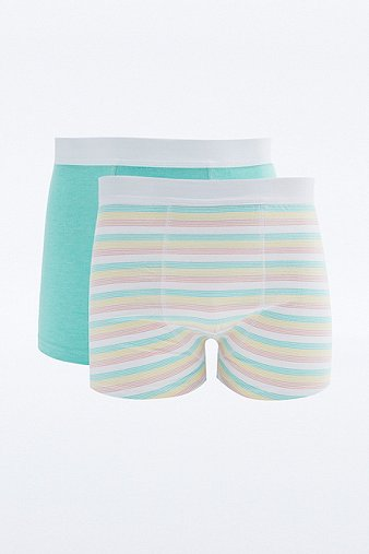 2 Pack General Selection Pastel Multi Stripe Boxer Trunks Assorted