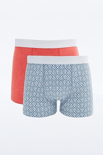2 Pack General Selection Geometric Print Boxer Trunks Assorted