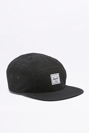 herschel-supply-glendale-black-fleece-classic-5-panel-cap-mens-one-size