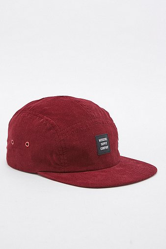 herschel-supply-glendale-corduroy-wine-5-panel-cap-mens-one-size