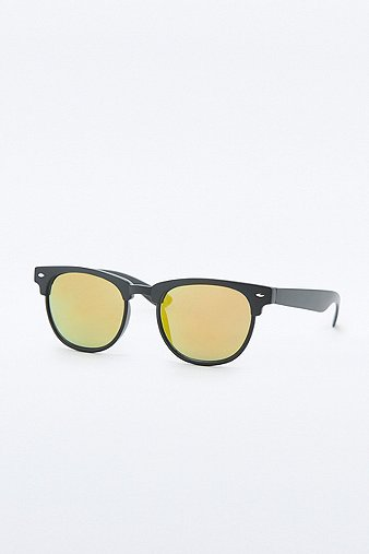 urban-outfitters-matte-black-half-frame-revo-lens-sunglasses-mens-one-size