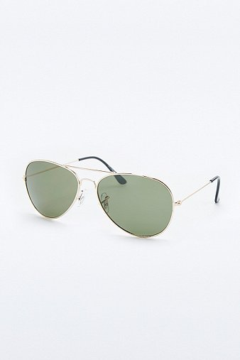 urban-outfitters-classic-gold-green-aviator-sunglasses-mens-one-size